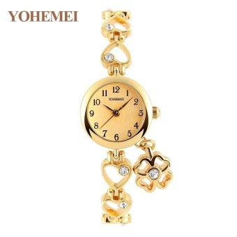 Harga YOHEMEI 0177 Women's Fashion Quartz Watches Classic Diamond Bracelet Women's Watch - Gold - intl