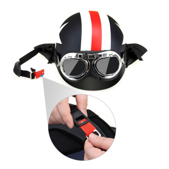 Harga Half Open Face Motorcycle Helmet with Goggles Visor Scarf Biker Scooter Touring Helmet for Harley - intl
