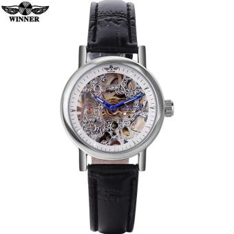 Harga 2016 WINNER watches women lady luxury brand skeleton automatic mechanical wristwatches artificial leather band relogio feminino