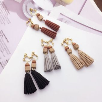 No ear hole ear clip female Korean earrings long paragraph earrings clip-on earrings Japan and South Korea natural wood suede tassel retro