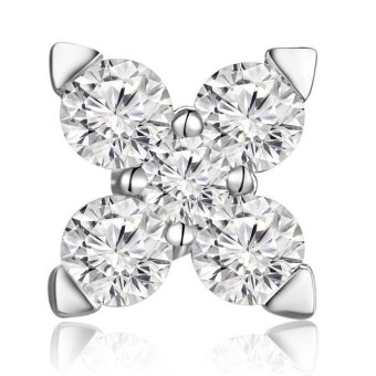 Harga MaBelle 18K White Gold Diamond Accent Leaf Cross Single Stud Earring (0.11 cttw, G-H Color, SI1 Clarity)