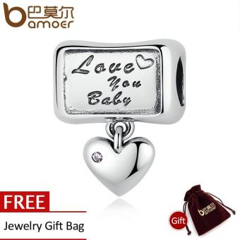 Harga BAMOER 100% 925 Sterling Silver Love you baby Love Forever Heart Charm Fit Bracelets Sterling Silver Jewelry Mom Gift SCC121 - intl