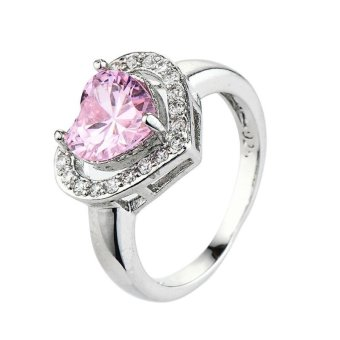Harga EOZY Women Heart Shaped Cubic Zirconia Rings Female White Gold Plated Wedding Ring (Pink) - intl