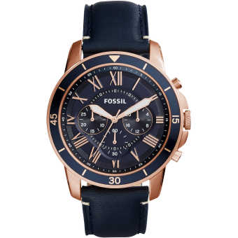 Harga Fossil New collection Grant Sport Chronograph Blue Leather Watch FS5237