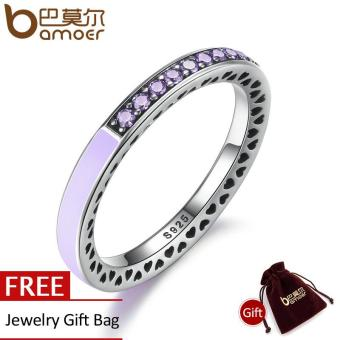 Harga BAMOER Genuine 925 Sterling Silver Radiant Hearts Of Lavender Enamel Ring for Women Purple Clear CZ Engagement Ring PA7605 - intl