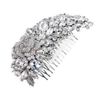 Harga Delicate Charming Women's Bridal Wedding Crystal Rhinestones Decor Flower Style Hair Comb Clip Hair Pin Hair Accesories (Silver)(Export)(Intl)