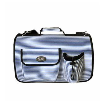 Harga Foldable Pet Carrier Small Navy Blue Stripes