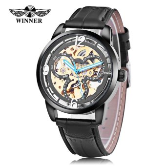 Harga Winner 275 Male Auto Mechanical Watch Wheel Pattern Dial Luminous Men Wristwatch (Gold) - intl