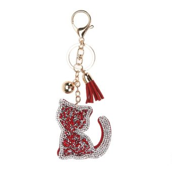 Harga Fashion Char Key Chain Pendant Rhinestone Cat Leather Keychain