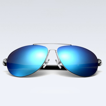 Harga VEITHDIA 2362 Fashion Driving Polarized Sunglasses for Men Aluminum-magnesium Silver frame Blue lens(Export)