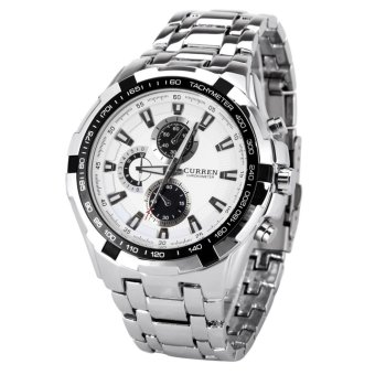 Harga CURREN Mens Round Dial Stainless Steel Strap Watch,white (Export) - Intl