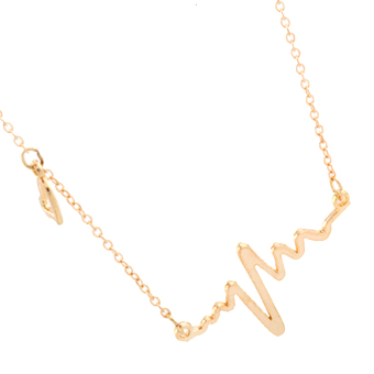 Harga Amango EKG Heart Beat Necklaces Charm Alloy Clavicle Valentine Gold