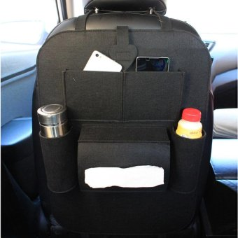 Harga Multi-Pocket Back Seat Storage Car Seat Cover Organizer Car Felt Covers Back Seat Organizer Cup Food Phone Bag - intl