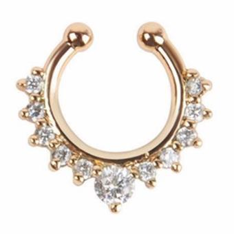Harga Fancyqube Fashion Hollow Jewerly Non Piercing Nose Ring Hoop Clip Gold - intl
