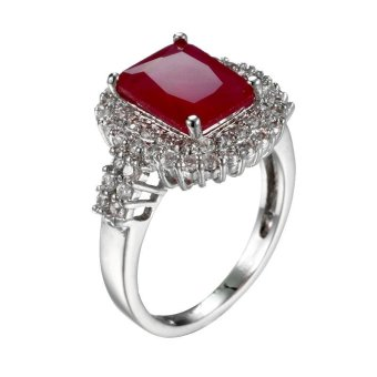 Harga New Fashion Women White Gold Plated Rings Square Ruby Wedding Ring Size 6-10 - intl
