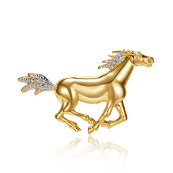 Harga Loches Lynn Golden horse Fashion Brooch Pendant STELLUX Elements AUSTRIAN CRYSTALS (B-8450-1)