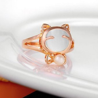 Harga 1pcs Pretty Womens Girls Gold Tone Cats Eye Gemstone Lucky Cat Ring Jewelry Pink - intl