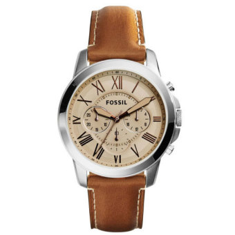 Harga Fossil FS5118 Grant Chronograph Analog Brown Leather Men's Watch