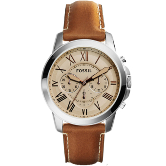 Harga Fossil Grant Chronograph Light Brown Leather Watch FS5118