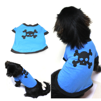 Harga Lovely Pet Dogs Cotton Skull Printed Clothes T Shirt (Blue) - intl