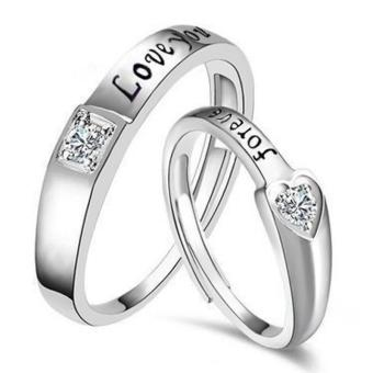 Harga Couple Rings Jewellry 925 Silver Adjustable Lovers Ring Jewelry E025 - intl