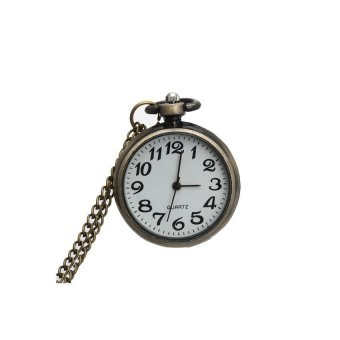 Harga VR_Tech Generic Quartz Movement Necklace Pendant Watch Pocket Round Dial Arabic Numerals Bronze - intl