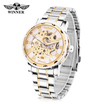 Harga Winner F120604 Men Mechanical Watch Hollow Movement Luminous Stainless Steel Band Wristwatch (Gold) - intl
