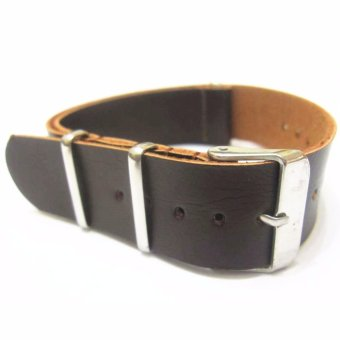Twinklenorth 22mm Dark Brown Genuine Leather Nato Military Watch Band Strap NATO-026 - intl