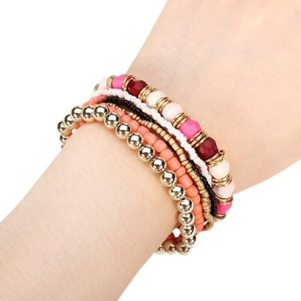 Harga Velishy Multilayer Bracelet Bohemia 7 Layers Pink