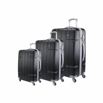 Harga Jean Francois Hard Case 4 Wheels Spinner Light Weight (20+24+28) Luggage - JTH5926 (Black)