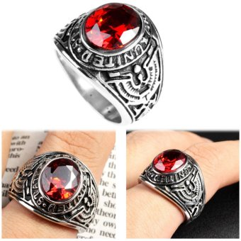 Harga Big Natural Red Stone Ring, Vintage Men Ruby Rings Wedding Jewelry - intl