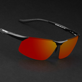 Harga VEITHDIA 6502 Polarized Sunglasses Men black frame red lens(Export)