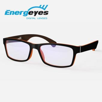ENERGEYES Computer Glasses Protect Eyes and Cut Blue Light by 50% Adult Rectangle Black Front and Tangerine Orange Back