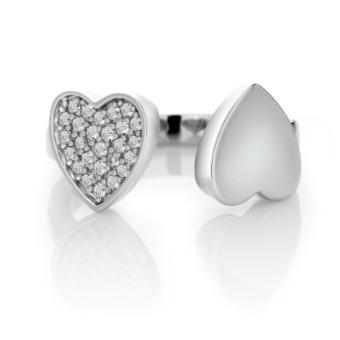 Harga Sterling Silver with White Topaz Heart to Heart Ring