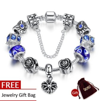 Harga BAMOER 925 Silver Heart Charm Bracelet Silver with Safety Chain & Blue Beads for Women Authentic Jewelry PA1454 - Intl