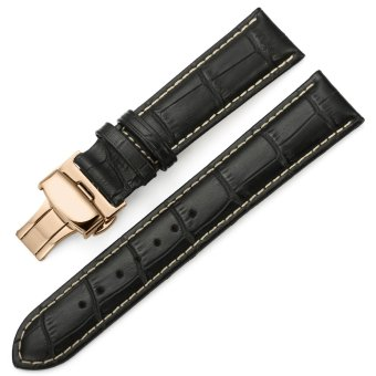 iStrap 22mm Genuine Leather Strap Butterfly Deployment Buckle Watch Band for Rose Gold Cases Black