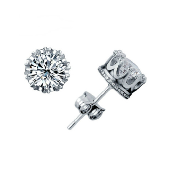 Fashion 925 Sterling Silver Crystal Rhinestone Crown Set Ear Stud Earrings