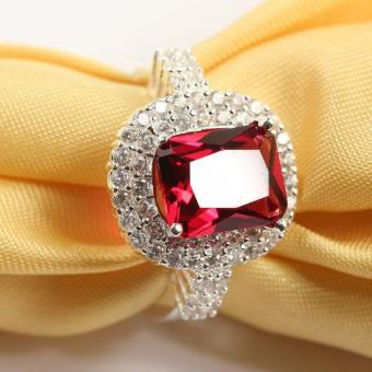 Harga Women's Ruby Gemstone Ring Crystal Diamond Ring For Wedding Party - intl