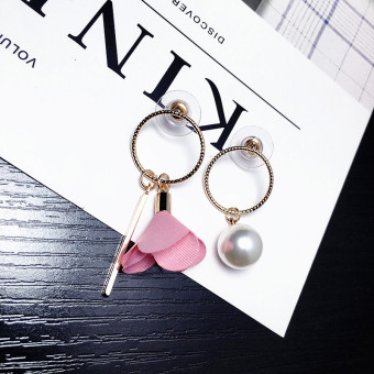 Harga South korea fashion jewelry temperament exaggerated long section asymmetric fabric rose ring pearl earrings earrings female korean