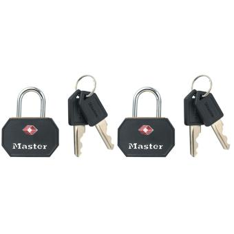 Harga Master Lock 4681TBLK 1-1/4in (32mm) Wide Solid Metal TSA-Accepted Luggage Lock; Black; 2 Pack