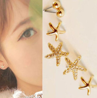 Harga 3pairs Starfish Shaped Rose Gold Stud Earrings For Women Girls - intl