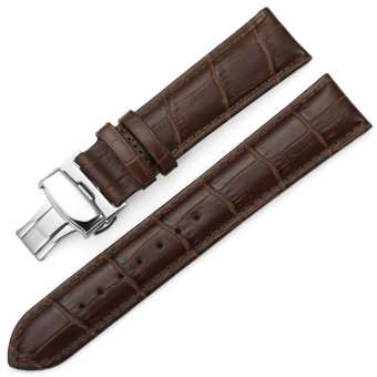 iStrap 20mm Croco Calf Leather Replacement Watch Band Strap w/ Push Button Deployment Clasp Brown
