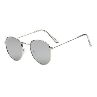 Harga New Sunglasses Trend Round Sunglasses Bright Reflective Sun Glasses-Silver Frame Mercury Film - intl