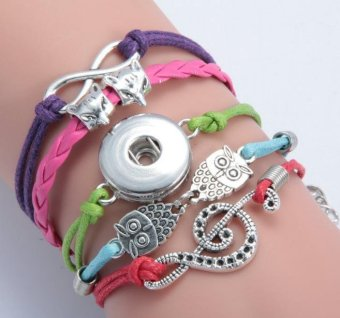 Harga DIY Woven Leather Bracelet Noosa Button Owl Wolf Head Musical Note Charm Braided Bracelet - intl