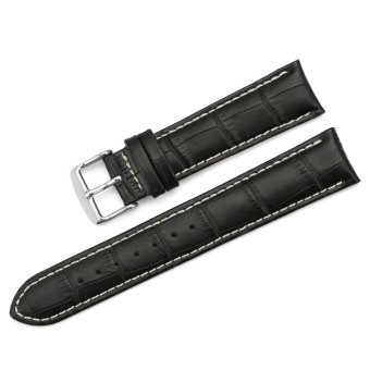 iStrap 20mm Genuine Calf Leather Watch Band Croco Grain Tan Stitch Tang Buckle - Black