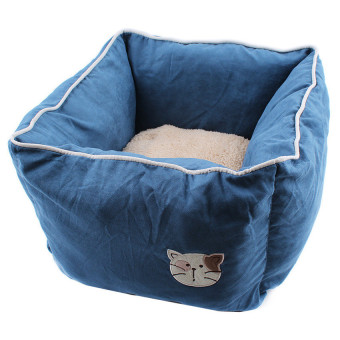 Harga Comfy Warm Soft Deep Pet Bed For Cats And Dogs (Blue) - intl