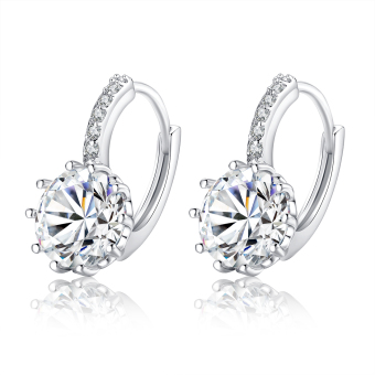 Harga BAMOER Trendy Genuine Platinum Plated Round Hoop Earrings with AAA Zircon For Women Jewelry Gift YIE083 - Intl
