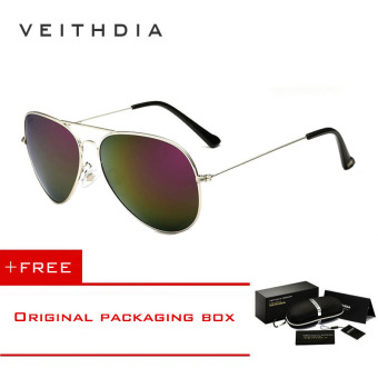 Harga VEITHDIA Brand Classic Fashion Polarized Sunglasses Men/Women Colorful Reflective Coating Lens Eyewear Accessories Sun Glasses 3026(Silver Purple) [ Buy 1 Get 1 Freebie ]