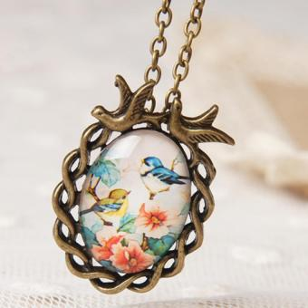 Harga Amango Oval Glass Cabochon Pendant Necklace Flower Cute 6(Export)