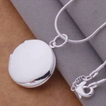 Harga Okdeals Round LOCKET Photo Charm Pendant Necklace silver